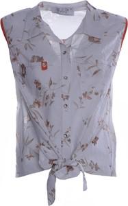 Srebrna koszula Fokus w stylu casual z kołnierzykiem bez rękawów