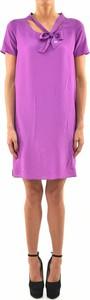 Fioletowa sukienka Dsquared2 z krótkim rękawem w stylu casual z jedwabiu