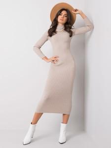 Sukienka Sheandher.pl z golfem w stylu casual z długim rękawem