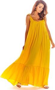 Żółta sukienka Awama w stylu casual