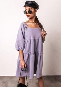 Fioletowa sukienka Latika z długim rękawem z dekoltem w kształcie litery v