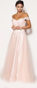 Sukienka Sukienki M&M z tiulu z okrągłym dekoltem maxi
