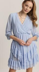 Niebieska sukienka Renee mini z dekoltem w kształcie litery v z długim rękawem