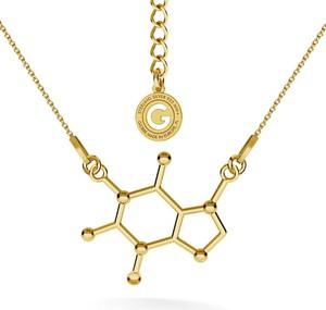GIORRE SREBRNY NASZYJNIK KOFEINA, WZÓR CHEMICZNY 925 : Kolor pokrycia srebra - Pokrycie Żółtym 24K Złotem