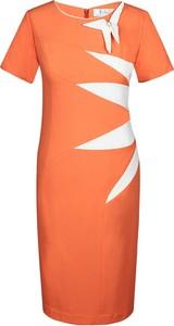 Sukienka Fokus z krótkim rękawem midi z okrągłym dekoltem