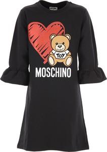 Czarna sukienka dziewczęca Moschino z bawełny