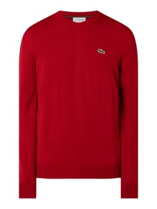 Czerwony sweter Lacoste z wełny