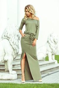 Zielona sukienka NUMOCO w stylu casual z długim rękawem z dekoltem w łódkę