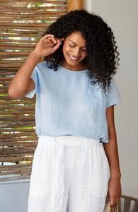 Niebieska bluzka Cellbes z krótkim rękawem z okrągłym dekoltem z lnu