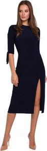 Sukienka Merg z okrągłym dekoltem prosta midi