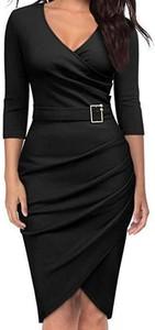 Czarna sukienka Arilook z dekoltem w kształcie litery v z długim rękawem ołówkowa