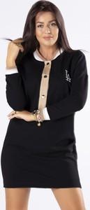 Czarna sukienka Ptak Moda w stylu casual z długim rękawem