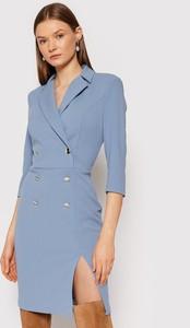 Niebieska sukienka Rinascimento z długim rękawem w stylu casual