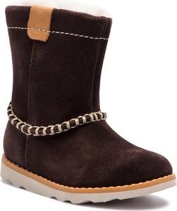 Brązowe buty dziecięce zimowe Clarks ze skóry