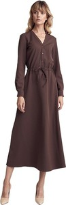 Brązowa sukienka Colett z długim rękawem