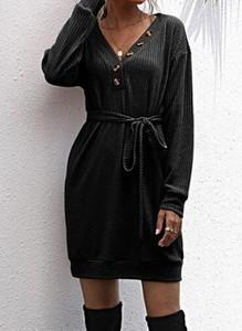 Czarna sukienka Cikelly w stylu casual z długim rękawem mini
