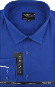 Niebieska koszula Forenzo z klasycznym kołnierzykiem z długim rękawem