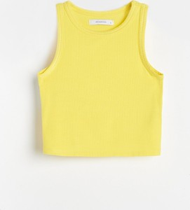 Żółty top Reserved z dzianiny