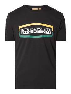 Czarny t-shirt Napapijri Cross Coll z nadrukiem