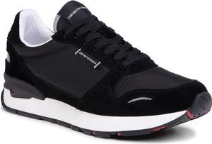 Czarne buty sportowe Emporio Armani z zamszu