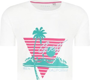 T-shirt Guess z krótkim rękawem w młodzieżowym stylu z nadrukiem