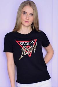 T-shirt Guess z okrągłym dekoltem z bawełny
