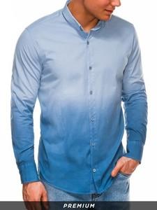 Niebieska koszula Ombre z długim rękawem