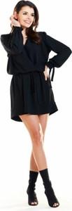 Czarna sukienka Awama z tkaniny mini