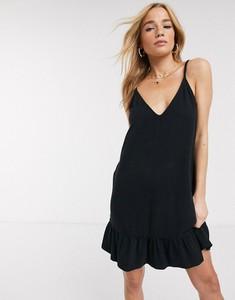 Czarna sukienka Asos baskinka na ramiączkach