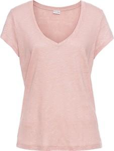 Różowy t-shirt bonprix BODYFLIRT z krótkim rękawem w stylu casual