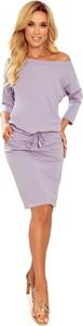 Fioletowa sukienka Manumo z bawełny z długim rękawem