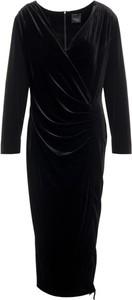 Czarna sukienka Persona by Marina Rinaldi z długim rękawem midi z dekoltem w kształcie litery v