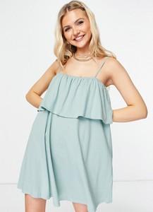 Niebieska sukienka Asos z okrągłym dekoltem w stylu casual na ramiączkach