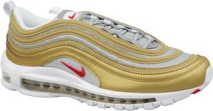 Złote buty sportowe Nike ze skóry sznurowane