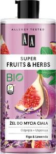 AA, Super Fruits & Herbs, żel do mycia ciała odprężająco-uspokajający, Figa i Lawenda, 500 ml