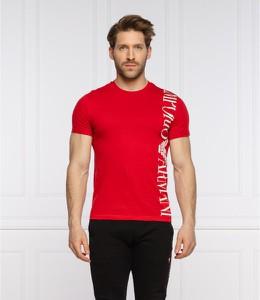 Czerwony t-shirt Emporio Armani z bawełny z krótkim rękawem