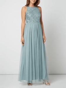 Niebieska sukienka Lace & Beads rozkloszowana maxi w stylu glamour
