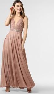 Różowa sukienka Luxuar Fashion na ramiączkach maxi z dekoltem w kształcie litery v