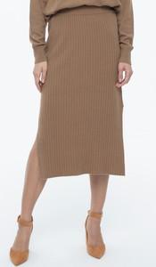 Brązowa spódnica POTIS & VERSO midi z kaszmiru