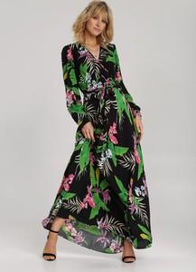 Czarna sukienka Renee kopertowa maxi z długim rękawem
