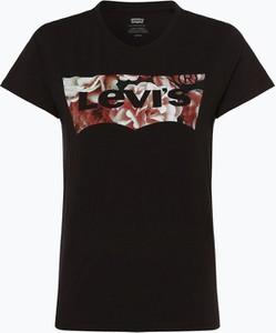 Czarny t-shirt Levis z krótkim rękawem z okrągłym dekoltem w młodzieżowym stylu