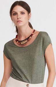 Turkusowy t-shirt Reserved w stylu casual z krótkim rękawem