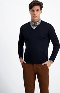 Granatowy sweter Lavard z tkaniny