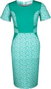 Miętowa sukienka Fokus ołówkowa z krótkim rękawem w stylu klasycznym