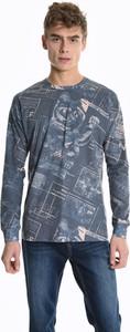 Niebieska koszulka z długim rękawem Gate z długim rękawem z nadrukiem z bawełny
