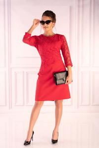 Czerwona sukienka MERRIBEL z długim rękawem z okrągłym dekoltem