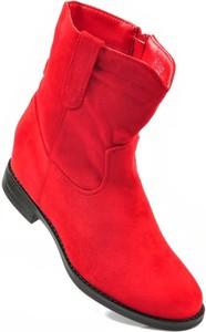 Czerwone botki Ideal w stylu casual z płaską podeszwą na zamek
