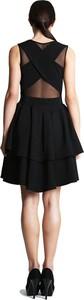 Czarna sukienka Camill Fashion rozkloszowana z tiulu z okrągłym dekoltem