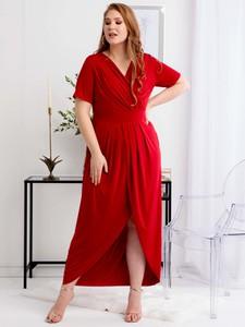 Sukienka KARKO z tkaniny kopertowa z krótkim rękawem