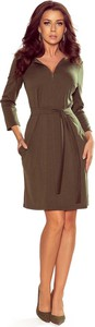 Brązowa sukienka NUMOCO z dekoltem w kształcie litery v w stylu casual mini